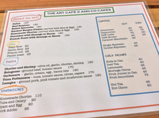 Silay Ann Co Cakes Menu